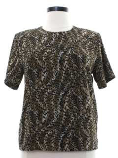 1980's Womens Animal Print Secretary Shirt