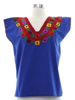 1970's Womens Huipil Style Shirt