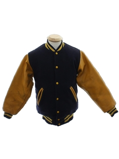 1970's Mens or Boys Wool and Leather Letterman Jacket