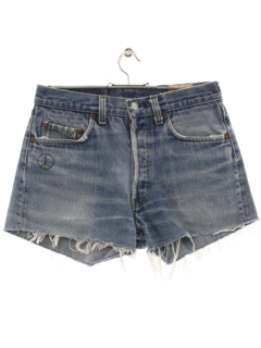 1980's Womens Denim Levis 501s Jeans Cut-off Shorts