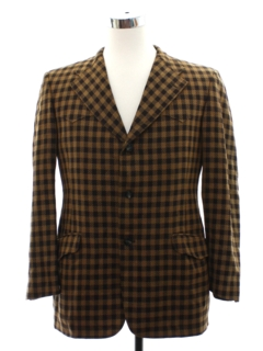 1970's Mens Plaid Western Disco Blazer Sport Coat Jacket
