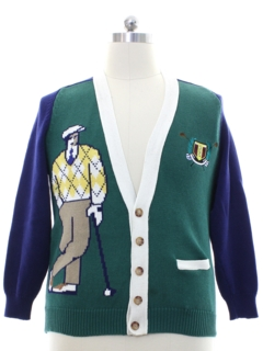 1980's Mens Cardigan Golf Sweater
