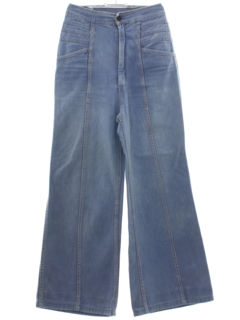 1970's Womens Wide Leg High Waisted Hippie Bellbottom Jeans-cut Pants