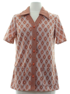 1970's Womens Mod Knit Leisure Shirtjac Style Shirt