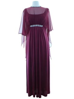 1970's Womens Designer Emma Domb Prom or Cocktail Maxi Dress