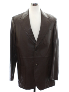 1970's Mens Leather Blazer Style Sport Coat Jacket