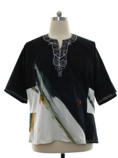 1980's Mens Embroidered Dashiki Inspired Shirt