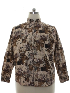1980's Mens Deer Print Shirt