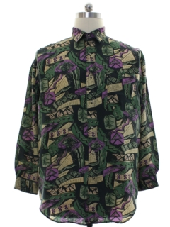 1980's Mens Totally 80s Silk Graphic Print Shirt