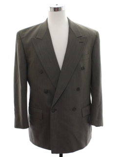 1990's Mens Givenchy Designer Double Breasted Swing Style Suit Coat Jacket