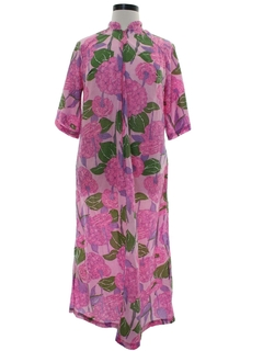 1960's Womens Mod Pow Flower Hippie Lounge Dress