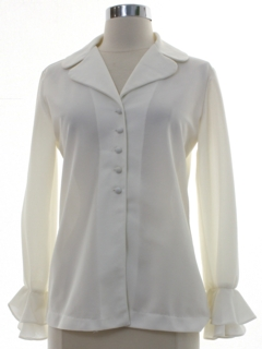 1970's Womens Ruffled Mod Knit Shirt