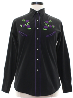 1990's Womens Embroidered Rodeo Style Western Shirt