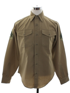 1970's Mens Military US Marines Uniform Work Shirt