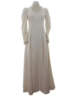 1970's Womens Princess Style Prom or Cocktail Maxi Dress