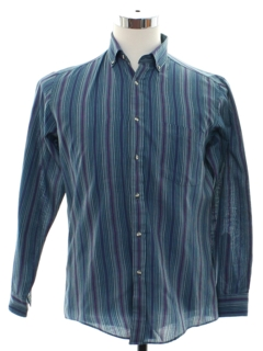 1980's Mens Preppy Striped Shirt