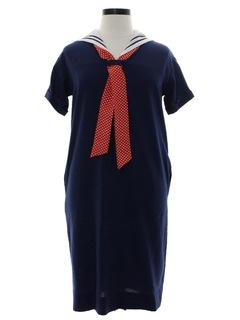 1980's Womens Nautical Inspired Sailor Shift Dress