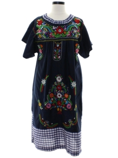 1970's Womens A-Line Huipil Style Dress