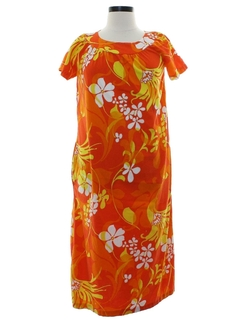 1960's Womens Mod A-Line Hawaiian Dress