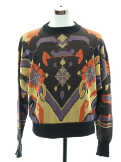 1980's Unisex Totally 80s Intarsia Knit Cosby Style Sweater