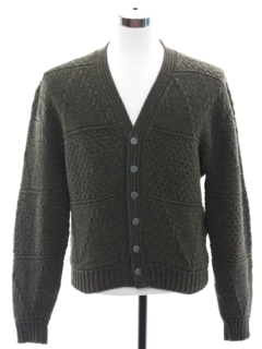 1960's Mens Mod Lambs Wool Blend Cardigan Sweater
