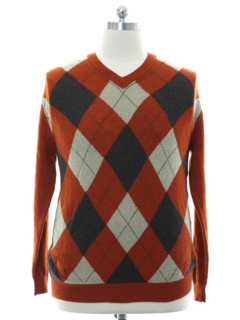 1990's Mens Lambs Wool Argyle Sweater