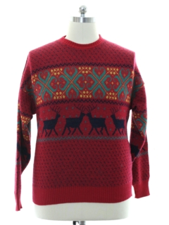 1980's Mens Totally 80s Wool Reindeer Ski Sweater