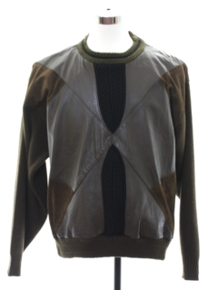 1980's Mens Totally 80s Leather Sweater