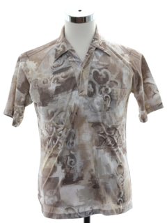 1970's Mens Designer Lilly Dache Resort Wear Style Print Disco Shirt