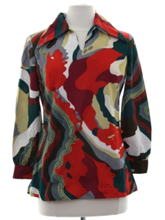 1970's Womens Mod Op-Art Tunic Top Shirt