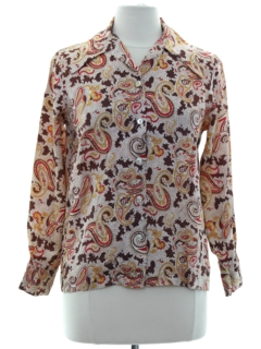 1970's Womens Paisley Print Disco Style Shirt