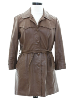 1970's Womens Leather A-Line Trench Coat Jacket