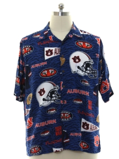 1990's Mens Auburn University Rayon Hawaiian Shirt
