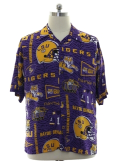 1990's Mens Louisiana State University Rayon Hawaiian Shirt