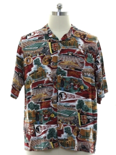 1990's Mens Florida State Rayon Hawaiian Shirt