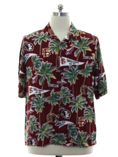 1990's Mens Florida State Seminoles Rayon Hawaiian Shirt
