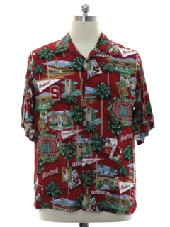 1990's Mens Stanford University Rayon Hawaiian Shirt
