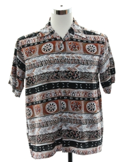 1980's Mens Rayon Totally 80s Graphic Print Sport Shirt