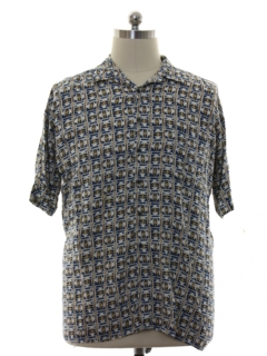 1980's Mens Rayon Graphic Print Sport Shirt