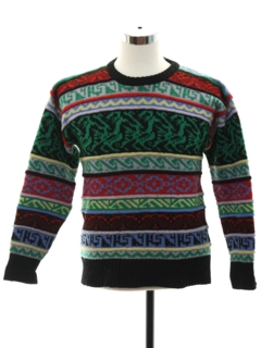 1980's Mens Totally 80s Shetland Wool Cosby Style Sweater