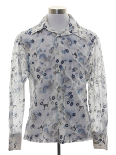 1970's Mens Print Disco Style Sheer Sport Shirt