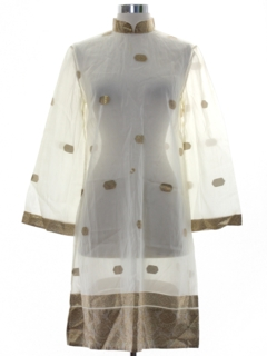 1960's Womens Sheer A-Line Mod  Dress