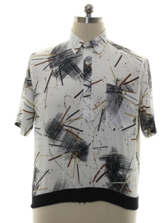 1980's Mens Resort Wear Style Print Disco Golf Shirt