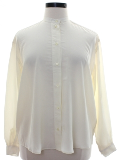 1980's Womens Rubinacci Totally 80s Solid Designer Secretary Shirt