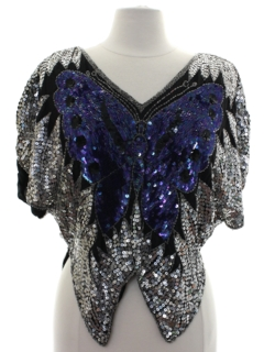 1980's Womens Totally 80s Butterfly Sequinned Cocktail Shirt