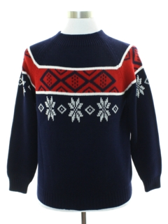 1970's Mens Mod Snowflake Ski Sweater