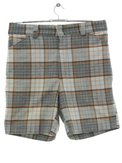 1970's Mens Mod Plaid Saturday Shorts
