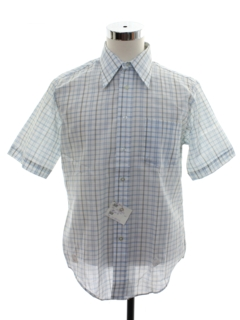 1970's Mens Plaid Mod Shirt