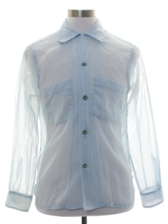 1950's Mens Nylon Seersucker Sheer Sport Shirt
