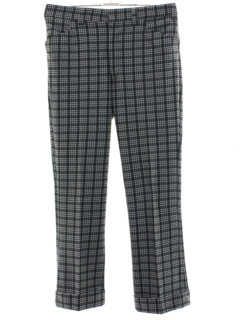 1970's Mens Plaid Flared Bellbottom Pants